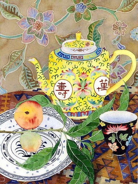 Чашка чая акварель картинки (8)