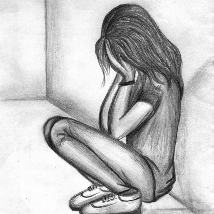 Аниме картинки для срисовки грустные (1)