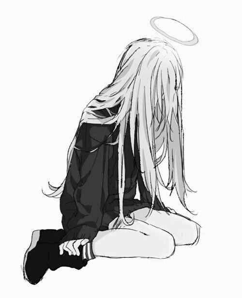 Аниме картинки для срисовки грустные (12)