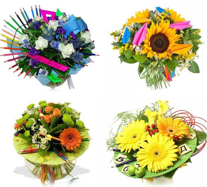 Букеты из цветов на 1 сентября - фото идеи (1)