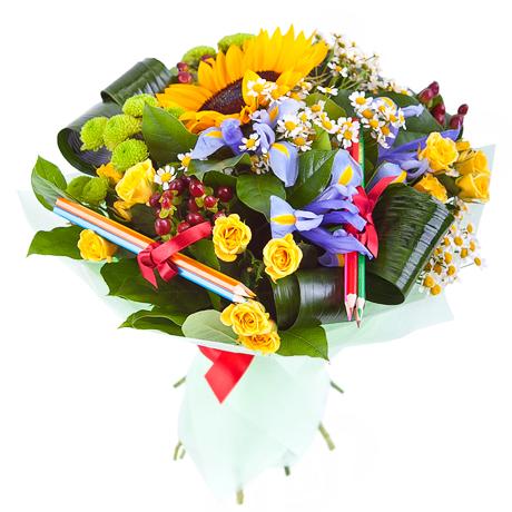Букеты из цветов на 1 сентября - фото идеи (13)