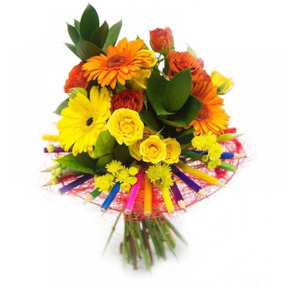 Букеты из цветов на 1 сентября - фото идеи (16)