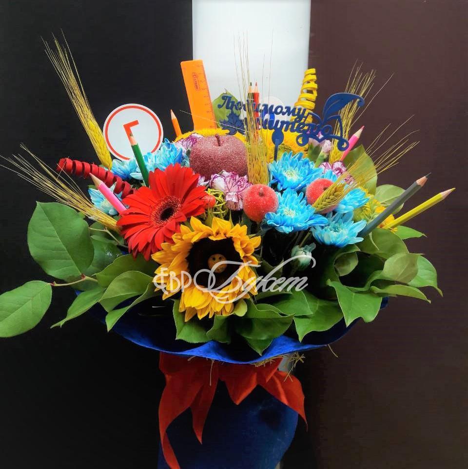 Букеты из цветов на 1 сентября - фото идеи (19)