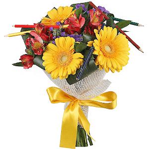 Букеты из цветов на 1 сентября - фото идеи (7)