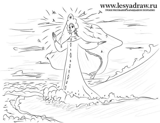 Как нарисовать Царицу Лебедь из сказки о Царе Салтане (17)
