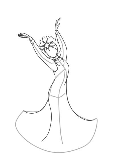Как нарисовать Царицу Лебедь из сказки о Царе Салтане (4)