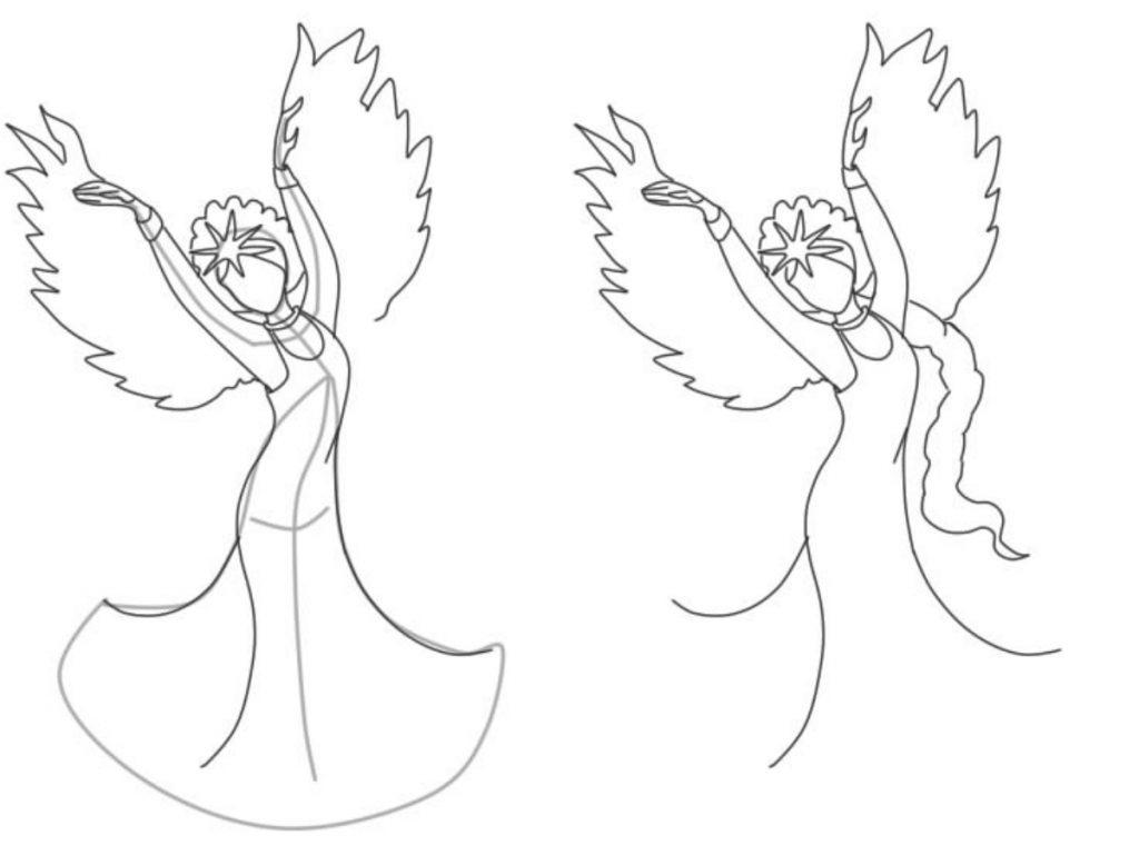 Как нарисовать Царицу Лебедь из сказки о Царе Салтане (6)