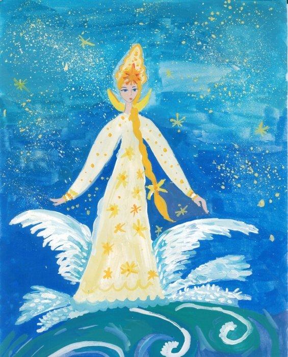 Как нарисовать Царицу Лебедь из сказки о Царе Салтане (7)