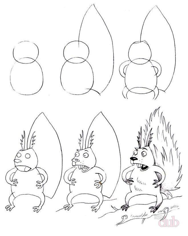 Как нарисовать белку из сказки о Царе Салтане поэтапно - рисунки (18)