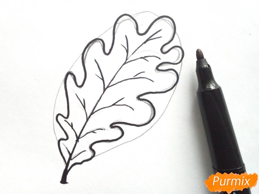 Как поэтапно нарисовать осенний лист карандашом для начинающих - рисунки (16)