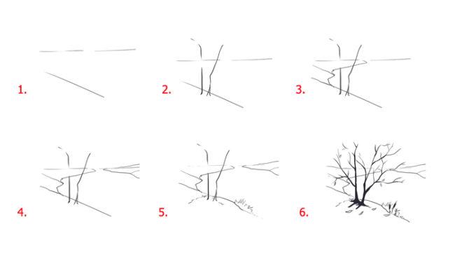 Как поэтапно нарисовать осенний лист карандашом для начинающих - рисунки (2)