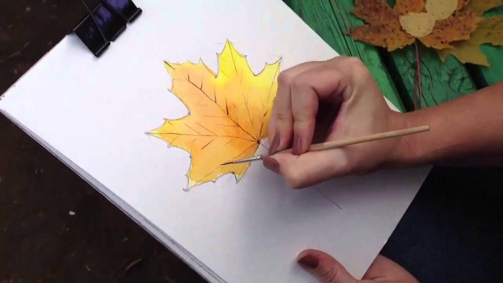 Как поэтапно нарисовать осенний лист карандашом для начинающих - рисунки (26)