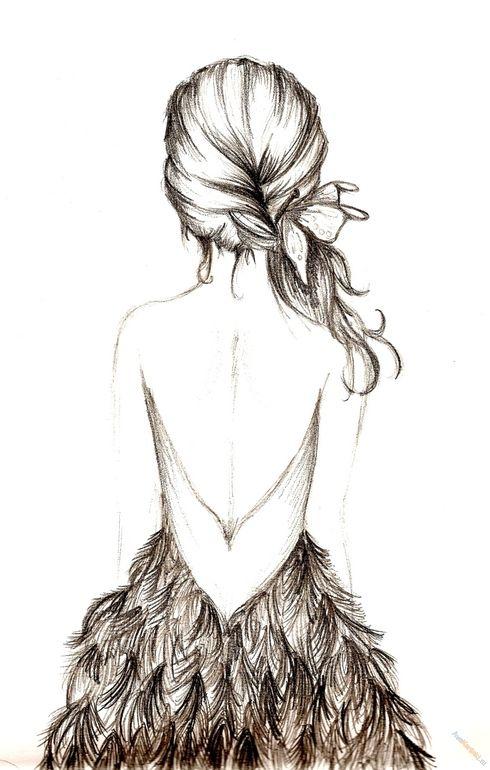 Картинки карандашом для срисовки девушки со спины легкие (1)