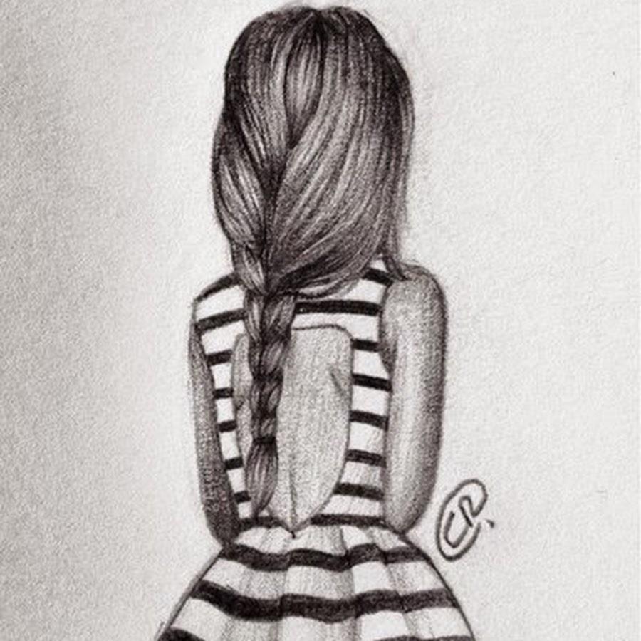 Картинки карандашом для срисовки девушки со спины легкие (16)