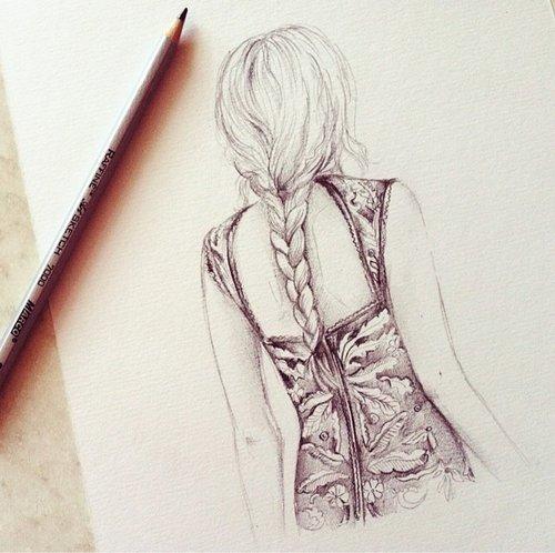 Картинки карандашом для срисовки девушки со спины легкие (2)