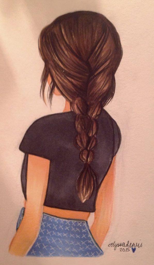 Картинки карандашом для срисовки девушки со спины легкие (20)