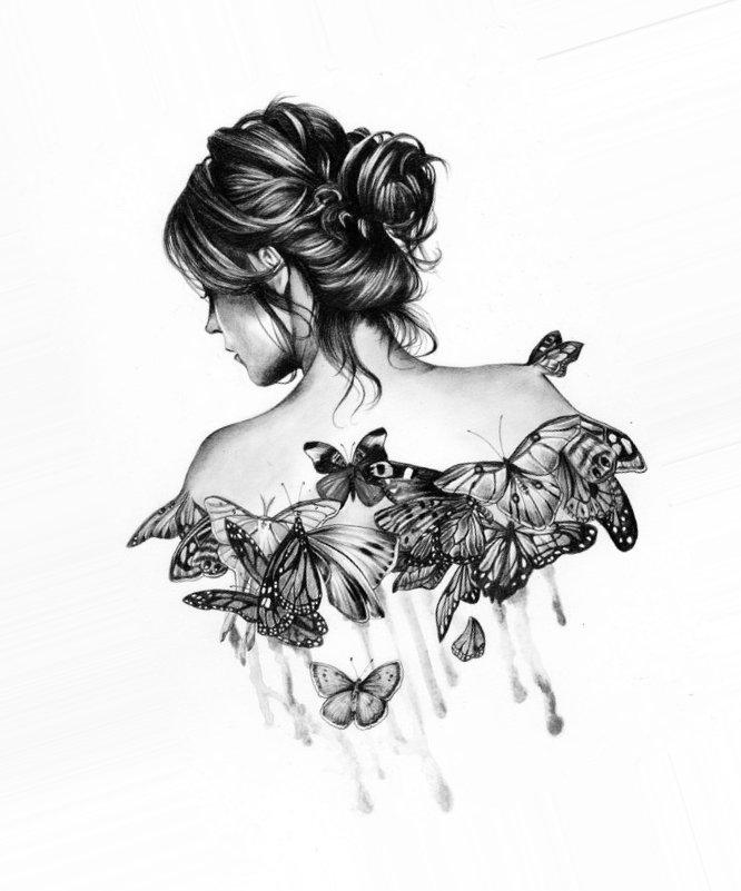 Картинки карандашом для срисовки девушки со спины легкие (21)