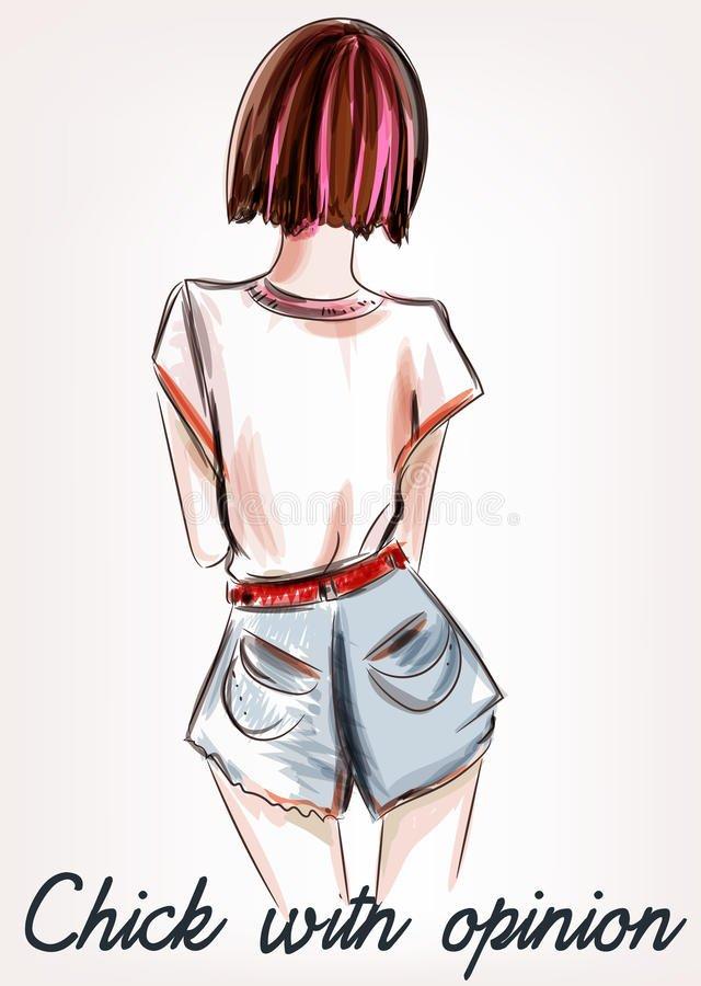 Картинки карандашом для срисовки девушки со спины легкие (24)