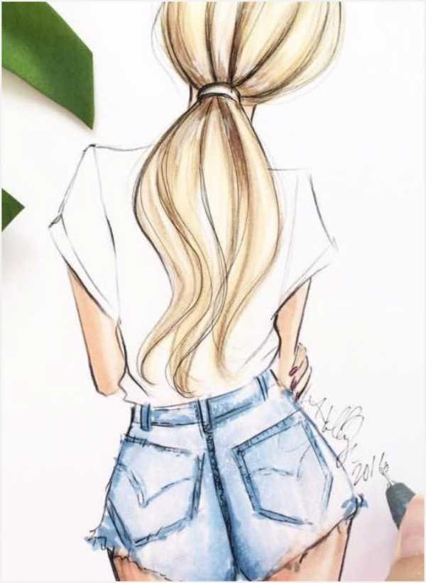 Картинки карандашом для срисовки девушки со спины легкие (6)