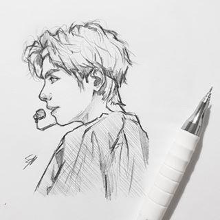 Корейские рисунки для срисовки (14)