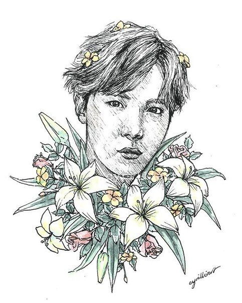 Корейские рисунки для срисовки (23)