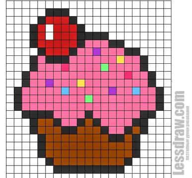 Красивые картинки по клеточкам кекс и пирожные (11)