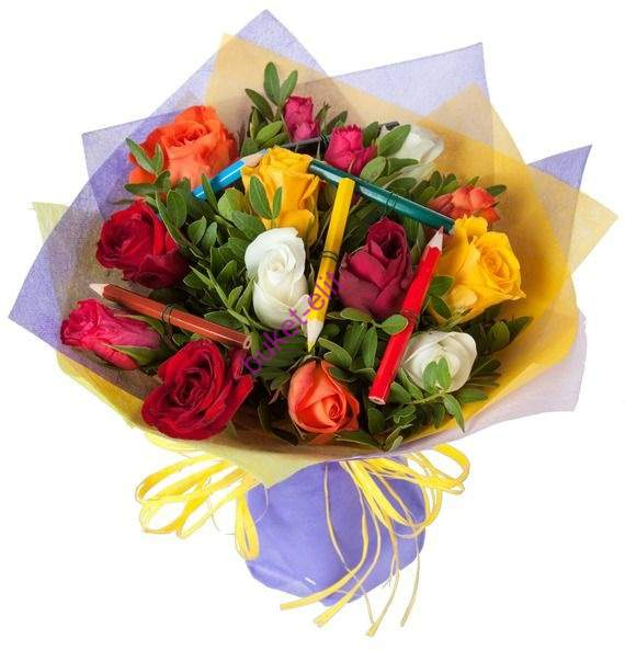 Лучшие букеты из роз на 1 сентября фото (14)