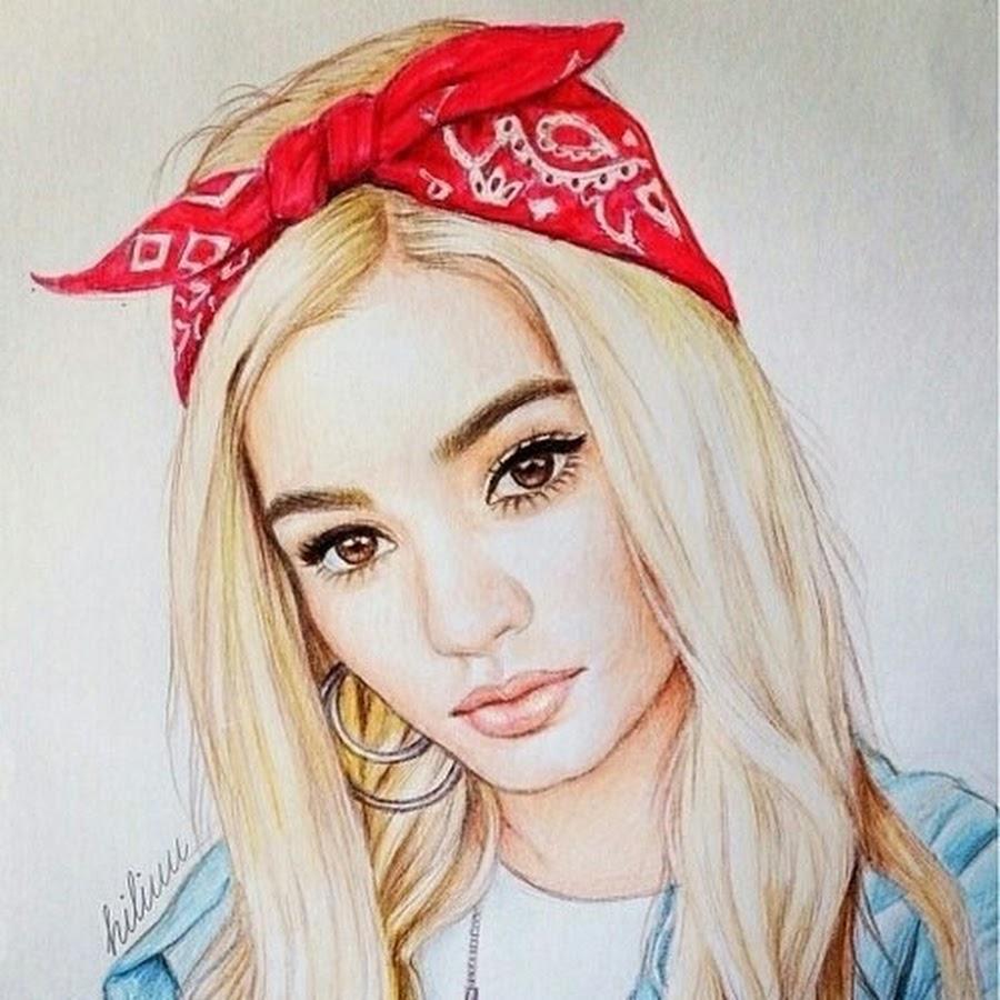 Нарисованные фото для девочек на аву в ВК (10)