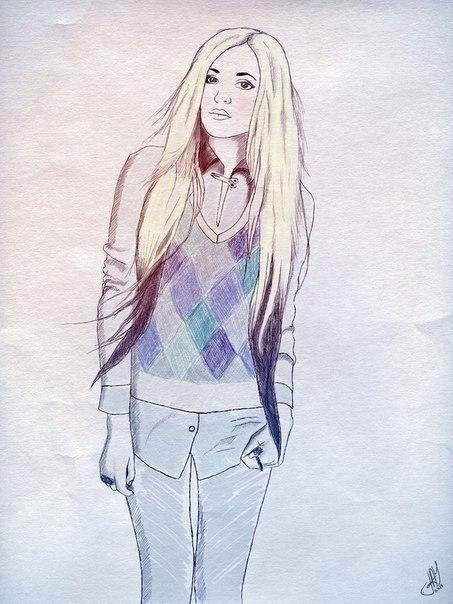 Нарисованные фото для девочек на аву в ВК (16)