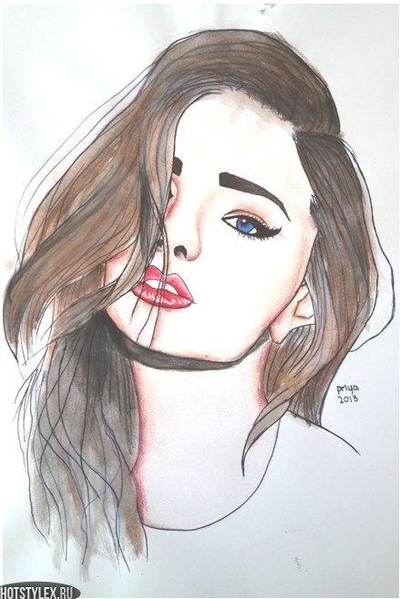 Нарисованные фото для девочек на аву в ВК (20)