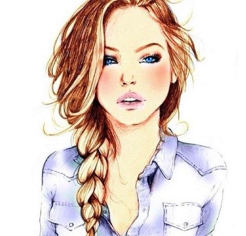 Нарисованные фото для девочек на аву в ВК (25)