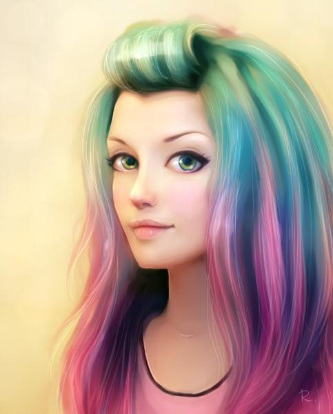 Аниме девушка с цветными волосами006