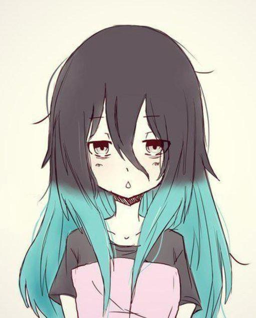 Аниме девушка с цветными волосами009