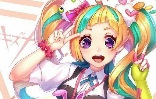 Аниме девушка с цветными волосами013