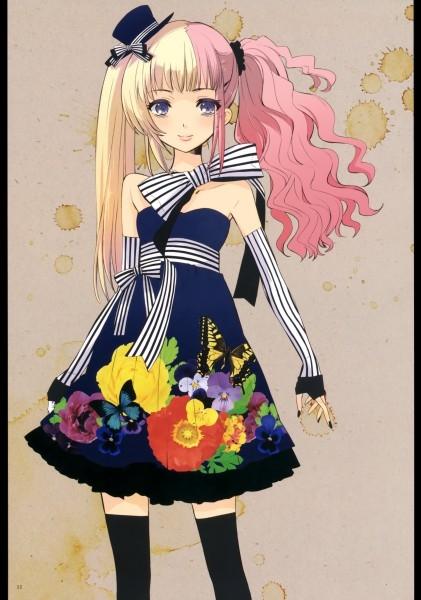 Аниме девушка с цветными волосами017