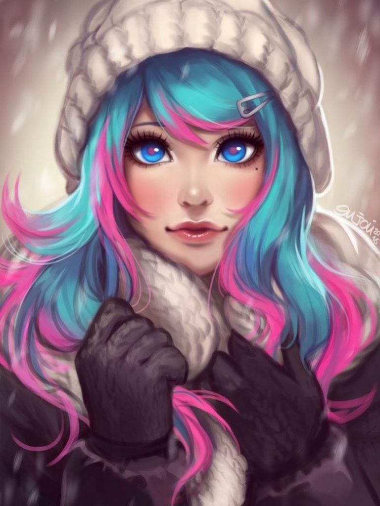 Аниме девушка с цветными волосами019