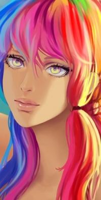 Аниме девушка с цветными волосами020