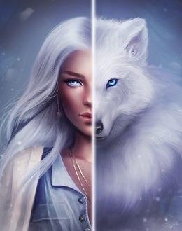 Волчица девушка арт002