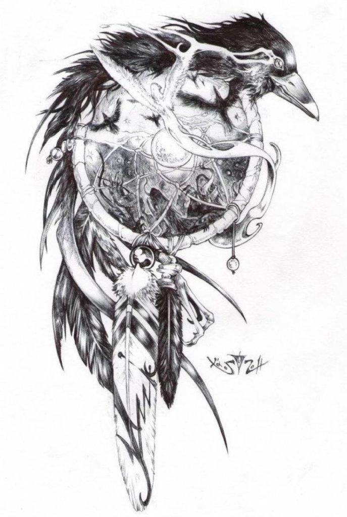 Ворона рисунок тату и эскизы001