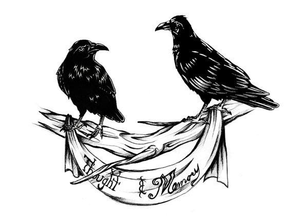 Ворона рисунок тату и эскизы003