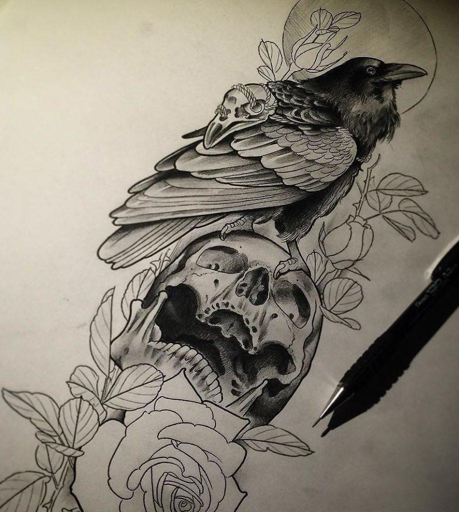 Ворона рисунок тату и эскизы006
