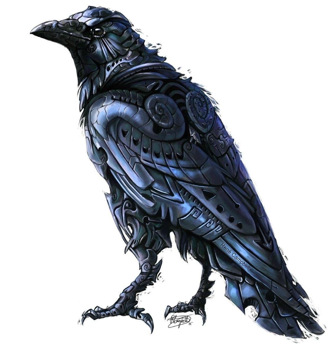 Ворона рисунок тату и эскизы008