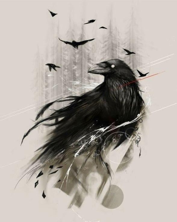 Ворона рисунок тату и эскизы009