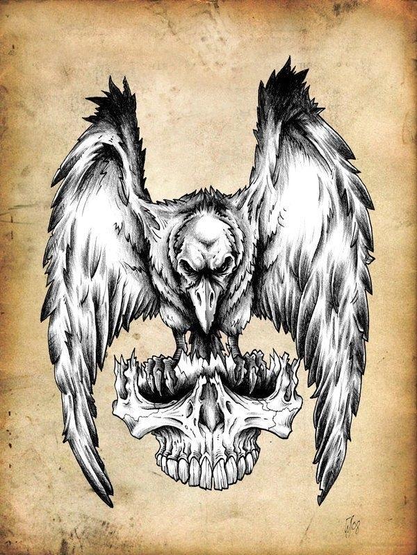 Ворона рисунок тату и эскизы014