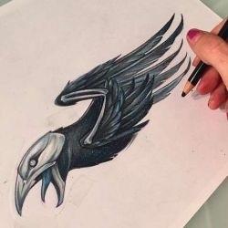 Ворона рисунок тату и эскизы015