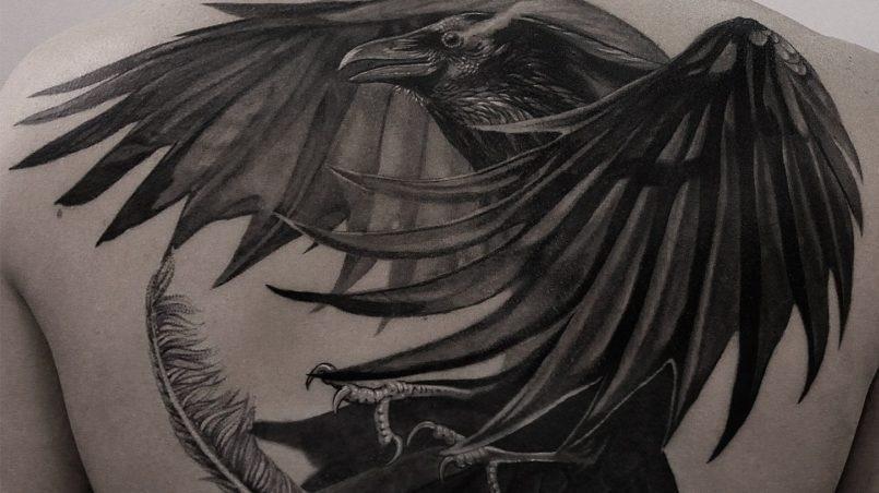 Ворона рисунок тату и эскизы016
