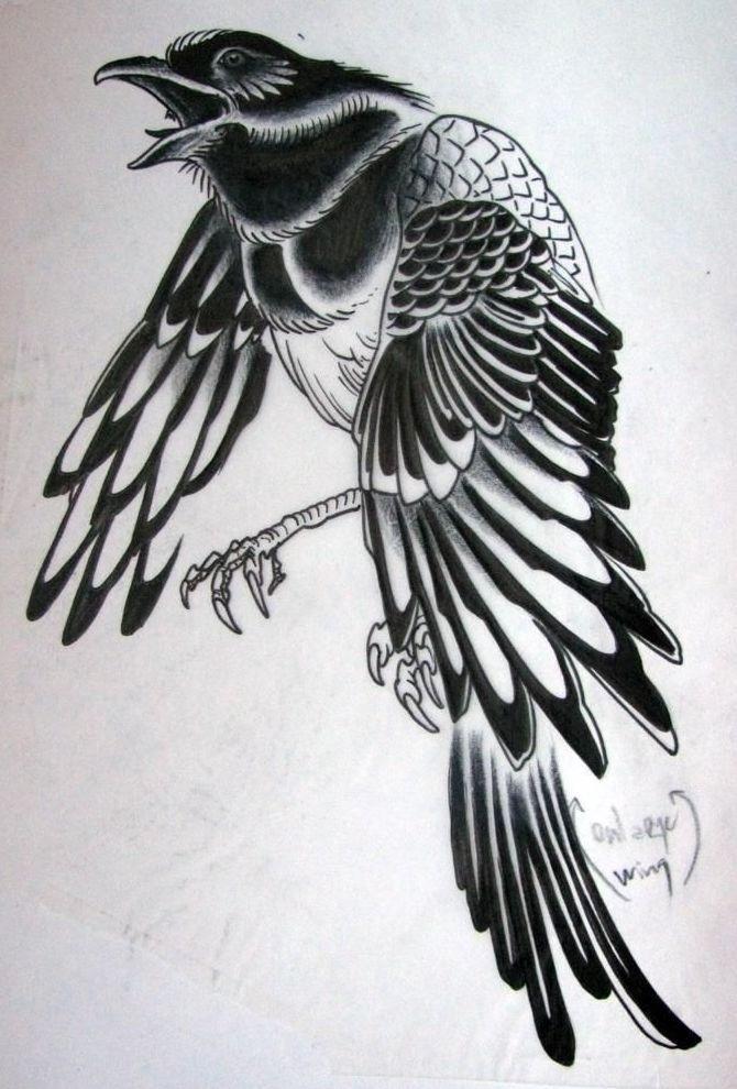 Ворона рисунок тату и эскизы017