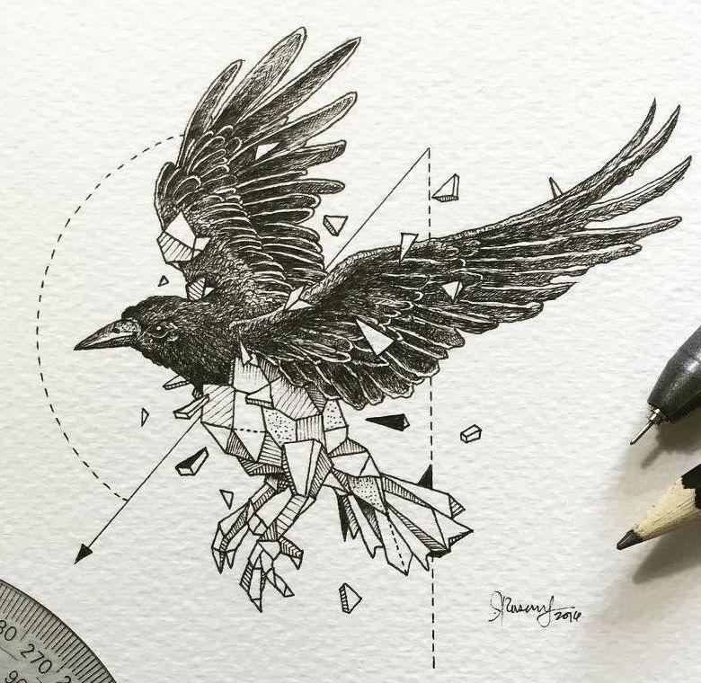 Ворона рисунок тату и эскизы018