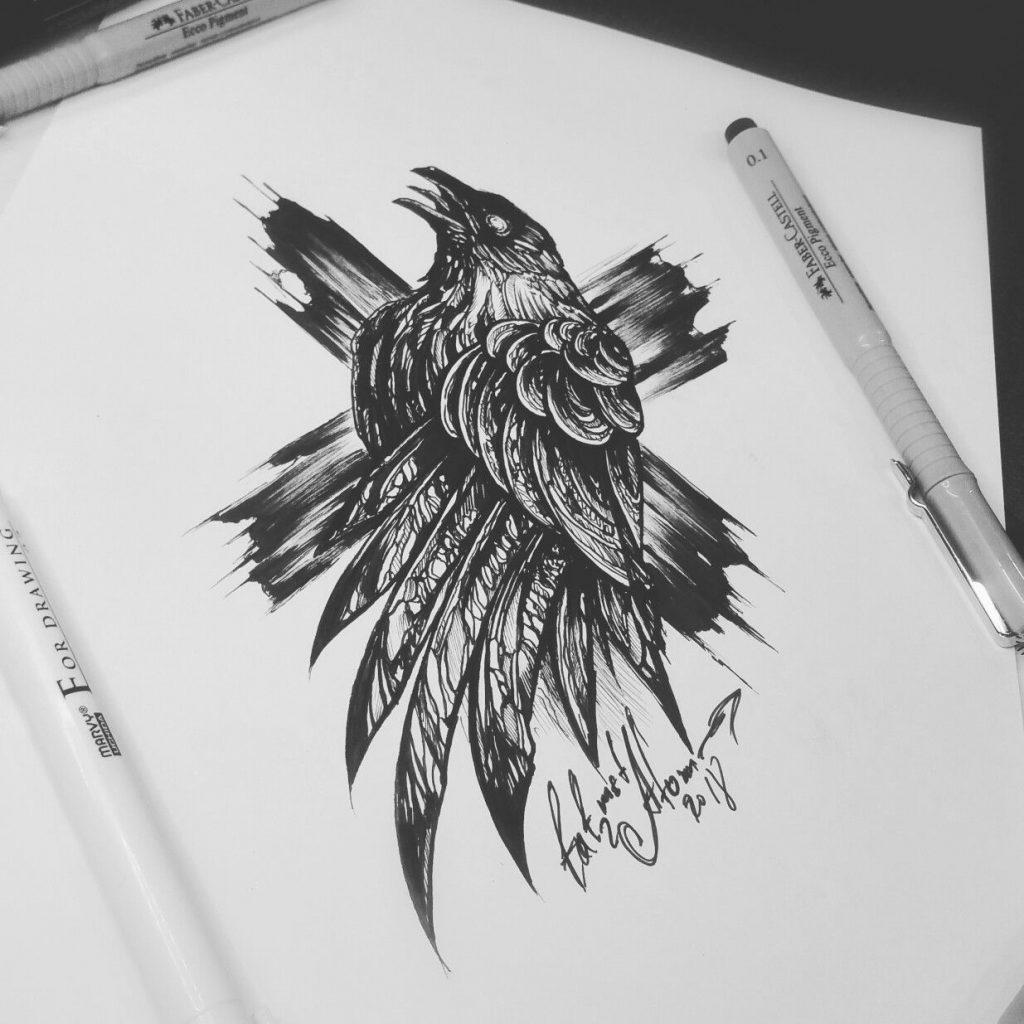 Ворона рисунок тату и эскизы019