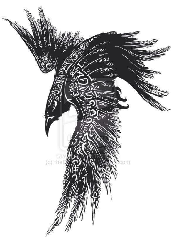 Ворона рисунок тату и эскизы020
